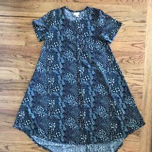 LuLaRoe CARLY Dress Navy Print Neutral Dress SizeS